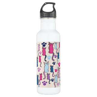 Cat Pattern Pink Blue Water Bottle