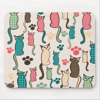 Cat Pattern Teal Pink Mouse Pad