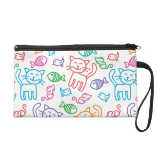 cat pattern wristlet purse