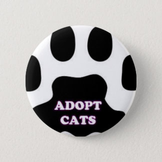 Cat Paw Adopt Cats with Cute Lettering FUN! Button