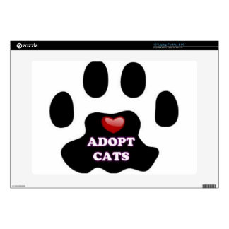 Cat Paw Adopt Cats with Cute Red Heart Kittahz Laptop Decal