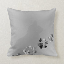 Cat Paw Black & White Prints Throw Pillow