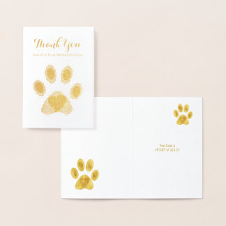 Cat Paw Heart of Gold Thank You Custom Text Foil Card