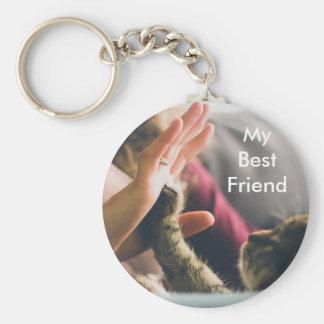 Cat Paw High-five Basic Round Button Keychain