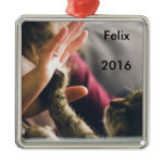 Cat Paw High-five Metal Ornament