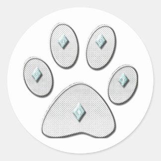 Cat Paw Outline With Diamonds Print Classic Round Sticker