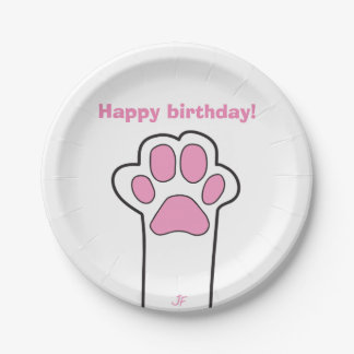 Cat paw paper plate