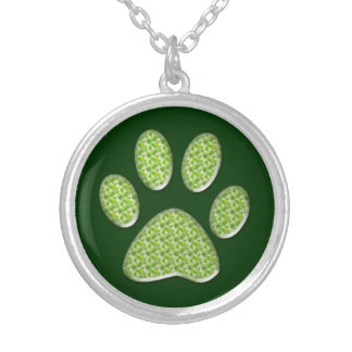 cat paw print round pendant necklace
