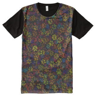 Cat Paw Print Pattern Tee All-Over Print T-shirt