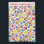 "Cat Paw Print Pet Name Pattern Kitchen Towel<br><div class=""desc"">A kitchen towel for cat lovers, with a colourful pattern of little cats paw prints walking all over it. Paw print colours include green, red, brown, blue, orange and lime. If you have a cat or kittens, you&#39;ll know that hygiene is important and it&#39;s a good idea to keep the...</div>"