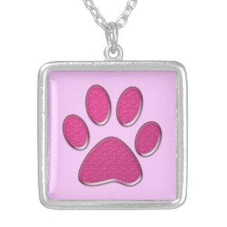 cat paw print square pendant necklace