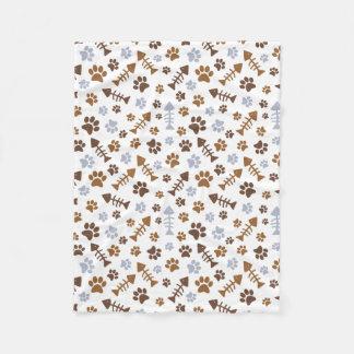 Cat Paw Prints Pattern Fleece Blanket
