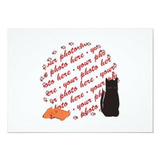 Cat Paw Prints Photo Frame 5x7 Paper Invitation Card