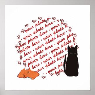 Cat Paw Prints Photo Frame Print
