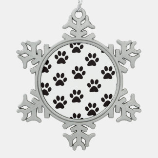 Cat Paw Prints Snowflake Ornament