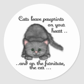 Cat paw prints classic round sticker