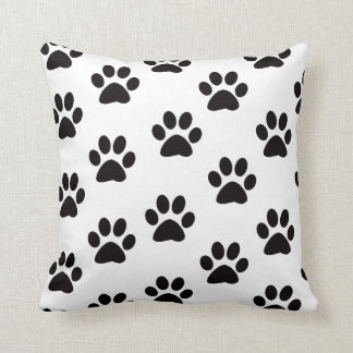 Cat Paw Prints Throw Pillow