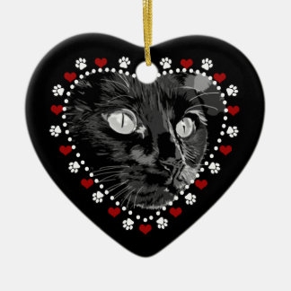 Cat Paws and Hearts Custom Photo Ornament