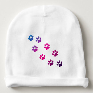 Cat Paws Blue Purple Pink Baby Beanie