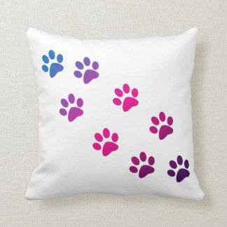 Cat Paws Blue Purple Pink Pillow