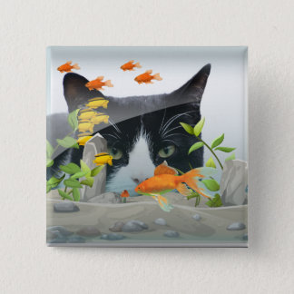 Cat Peering in Fish Tank Button