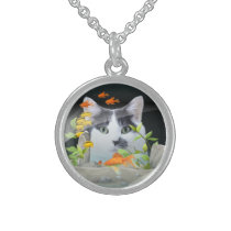 Cat Peering in Fish Tank Custom Photo Sterling Silver Necklace