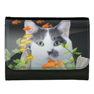 Cat Peering in Fish Tank Leather Wallet For Women