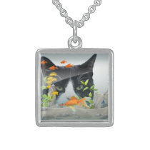 Cat Peering in Fish Tank Sterling Silver Necklace
