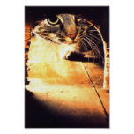 Cat Peering Into Mouse Hole Print