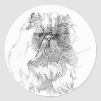 Cat, pen-and-ink drawing classic round sticker