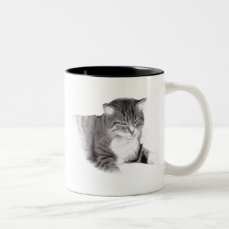 Cat: Pencil Drawing: Original Art Two-Tone Coffee Mug