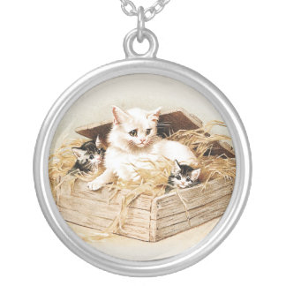 Cat Pendant Cat Family Necklace Kitten Jewelry