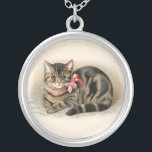 """Cat Pendant Cute Vintage Cat Necklace Jewelry<br><div class=""""desc"""">Cat Pendant Cute Vintage Cat Necklace Jewelry.  A sweet cat,  kitten graphic image from a vintage cat postcard with a red bow.  Great gift for cat lovers,  animal lovers.</div>"""