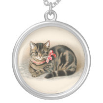 Cat Pendant Cute Vintage Cat Necklace Jewelry