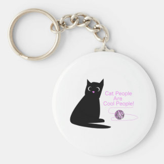 Cat People Are Cool People Keychain