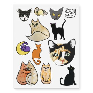 Cat People Meow Pack Temporary Tattoos