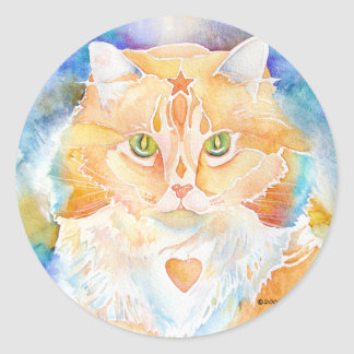Cat Persian with Heart Classic Round Sticker