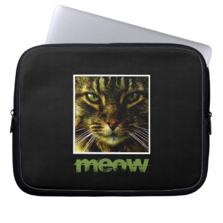 Cat Pet Hypnotizing Eyes Framed Photo Text Laptop Sleeve