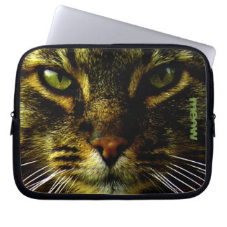 Cat Pet Hypnotizing Eyes Photo Text Laptop Sleeve