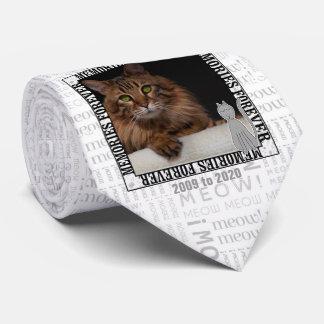 Cat Pet Memorial Meow Print Photo Neck Tie