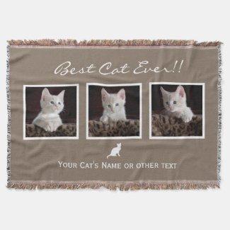 Cat Pet photo collage Best Cat Ever Instagram Throw