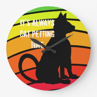 Cat Petting Time Rainbow Cats Pop Art CricketDiane Large Clock