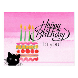 Cat Photo Bomb Happy Birthday Postcard