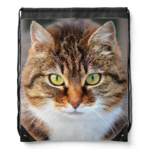 Cat Photo Drawstring Backpack