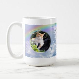 Cat Photo Memorial Angel Wings Halo and Rainbow Coffee Mug
