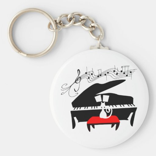 Cat & Piano Key Chains
