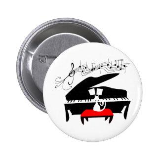 Cat & Piano Pinback Button