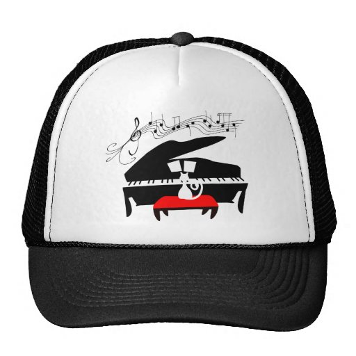 Cat Playing Grand Piano with Music Notes Trucker Hat