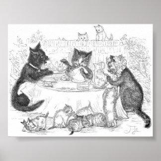 Cat Picnic Artwork Poster