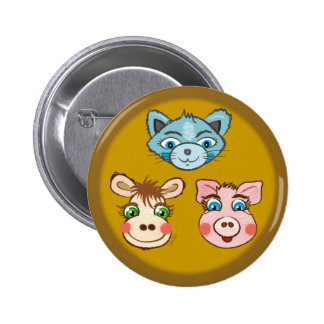 Cat Piggy and Cow brown button